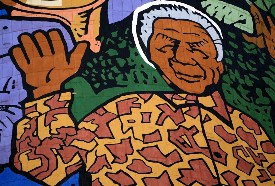A mural depicting the former South African President Nelson Mandela was painted on a cooling tower in Soweto.