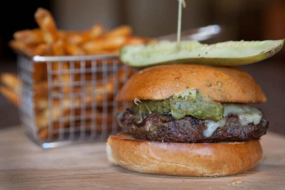 The Southwestern burger with jalapenos, guacamole, and Jack cheese.