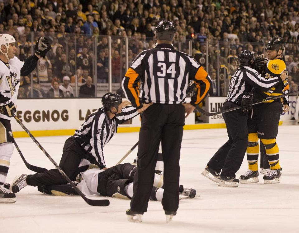 Shawn Thornton was pulled away by officials during a Dec. 7 game, after knocking out Brooks Orpik of the Penguins.