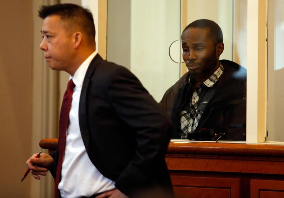 Defense Attorney J.P. Wing (left) argued on behalf of Christopher Murrain of Dorchester during Murrain's arraignment in Dorchester District Court.