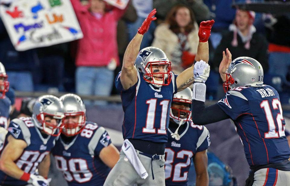 Tom Brady, right, celebrated with Julian Edelman after throwing the game-winning touchdown pass to Danny Amendola.