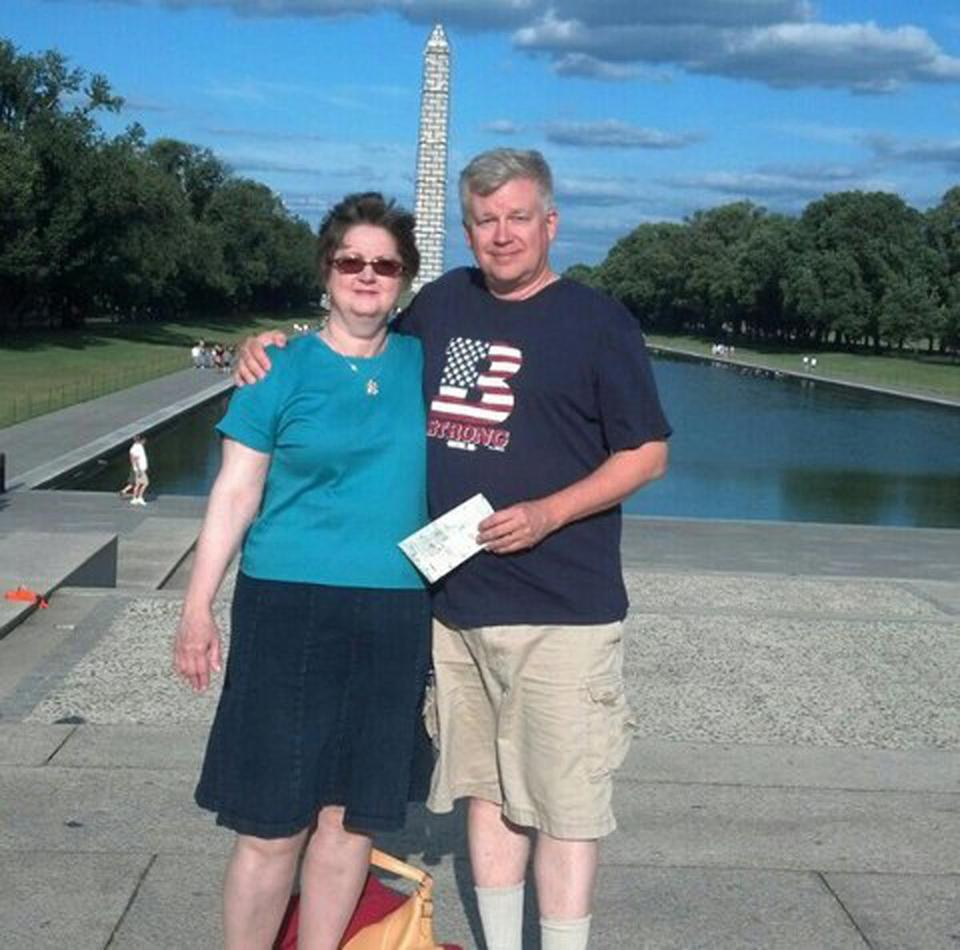 Brian and Alma Hart of Bedford scouted memorial locations in August. Their son, Private First Class John D. Hart, died when his unit was ambushed in Iraq in 2003.