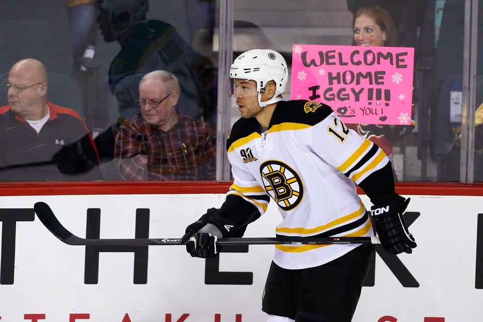 """It was definitely emotional,"" Jarome Iginla said, after the Bruins had taken the 2-1 comeback win."