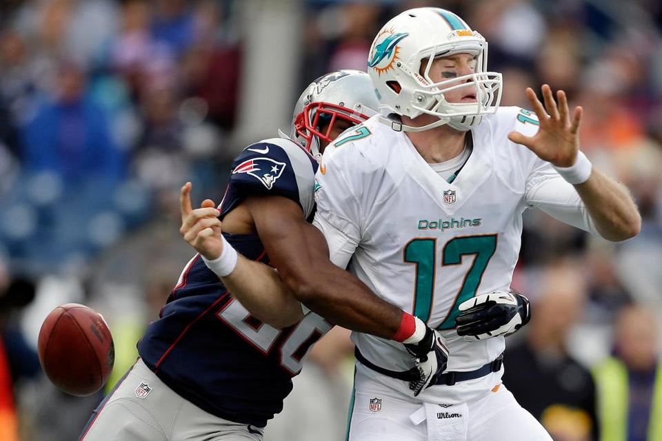 Ryan Tannehill completed just 22 of 42 passes for 192 yards, two touchdowns, and two interceptions in the Week 8 matchup against the Patriots.