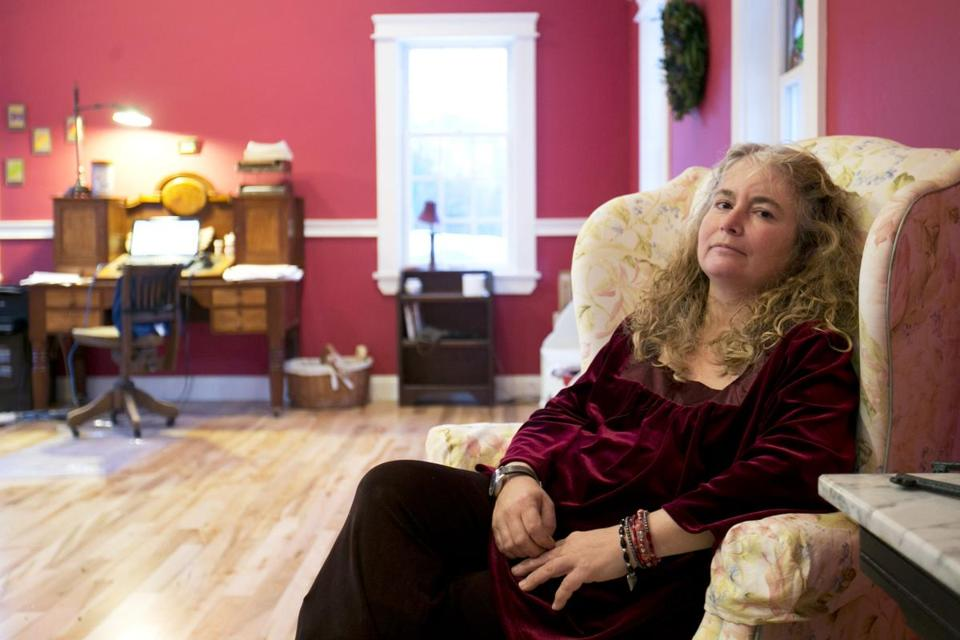 "Author Lauren Slater, shown in her Harvard home, wrote ""Love Works Like This"" about becoming a mother."