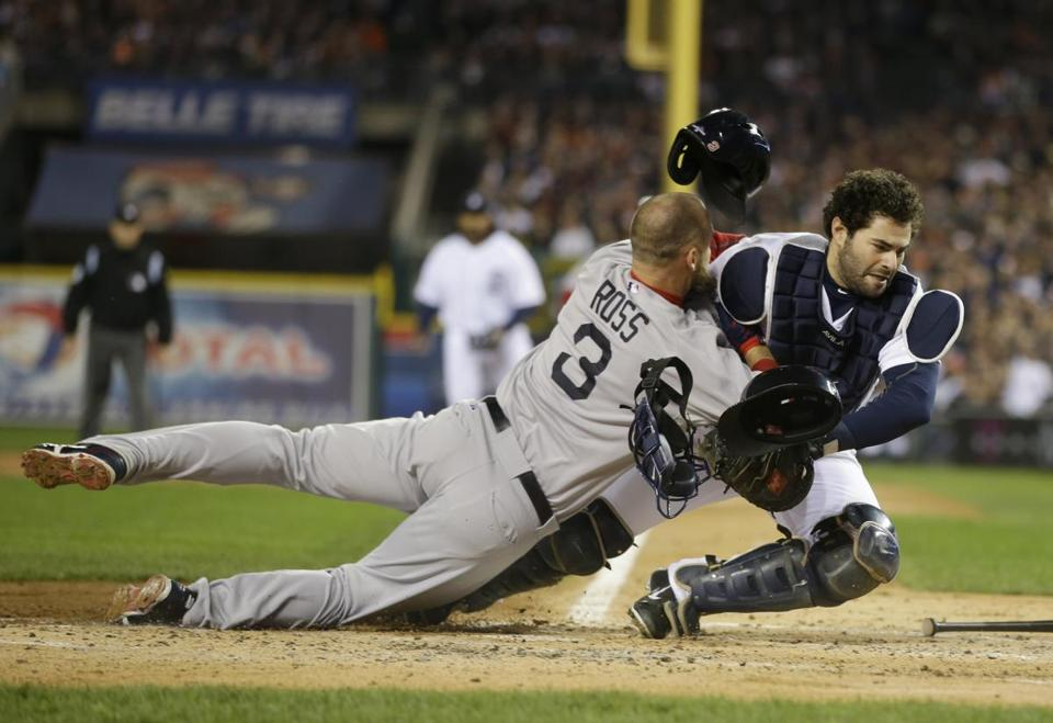 David Ross collided with  Tigers catcher Alex Avila during Game 5 of the American League Championship Series in Detroit on Oct. 17.