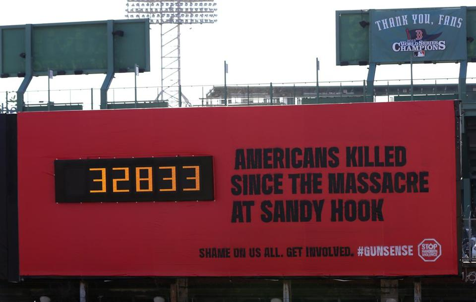 The billboard near Fenway Park has been a prominent promoter of gun control laws.