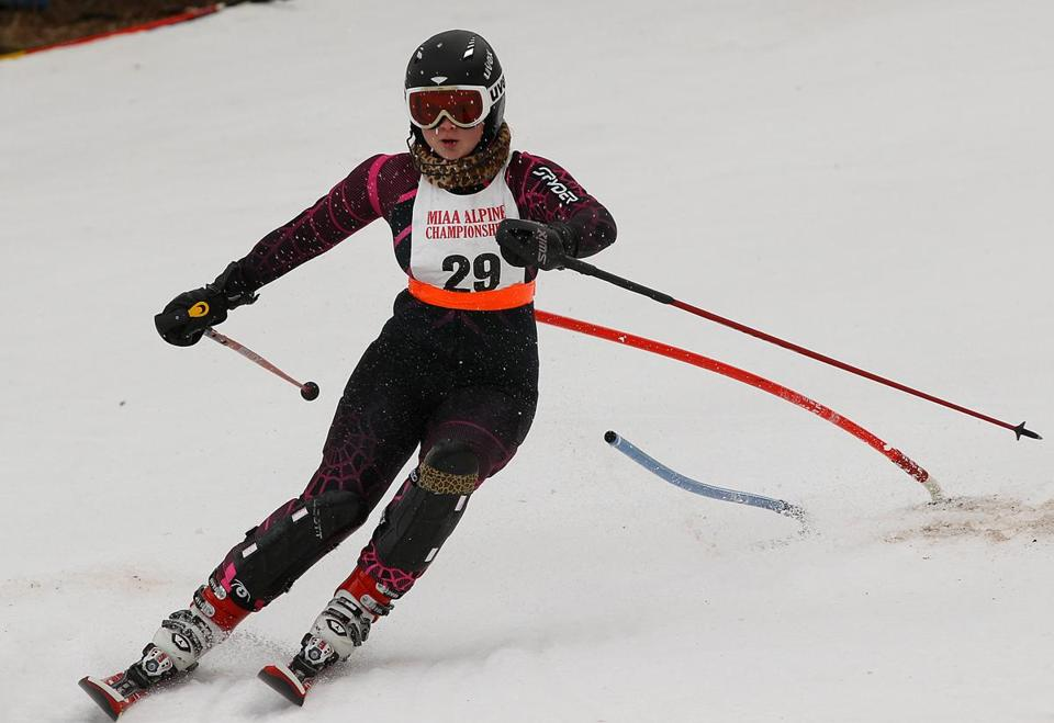 Sydney Andrews from Marblehead finished third in the giant slalom and 14th in the slalom at the state Alpine ski championships.