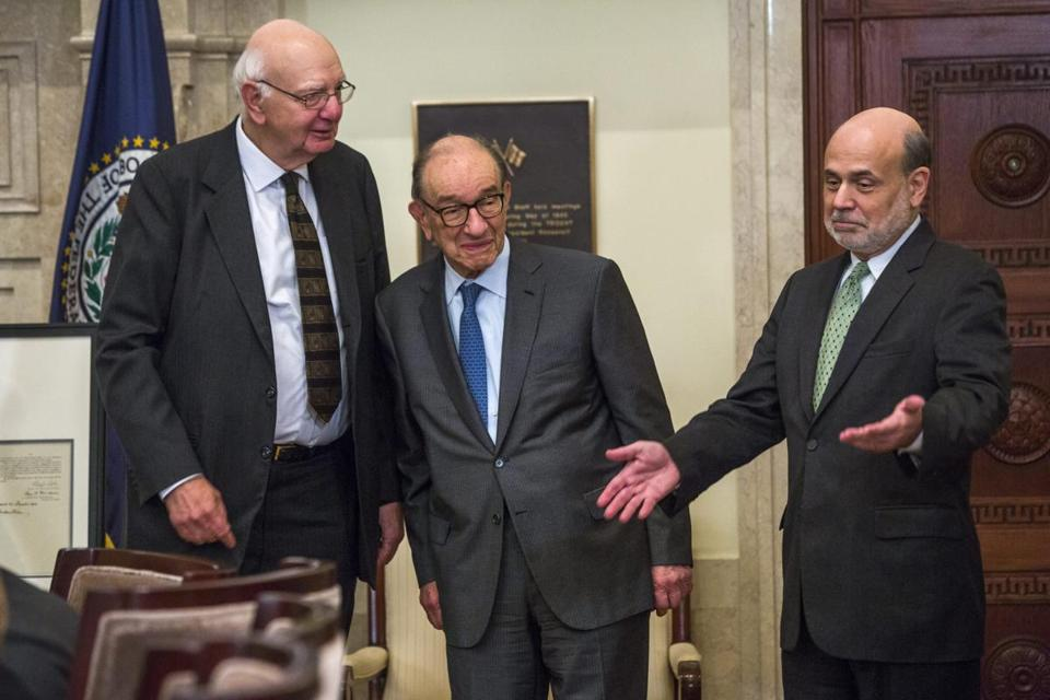 "Paul Volcker (left) drove up interest rates to battle inflation, Alan Greenspan (center) saw ''truly frightening"" days in 1987, and Ben Bernanke has faced a severe financial crisis."