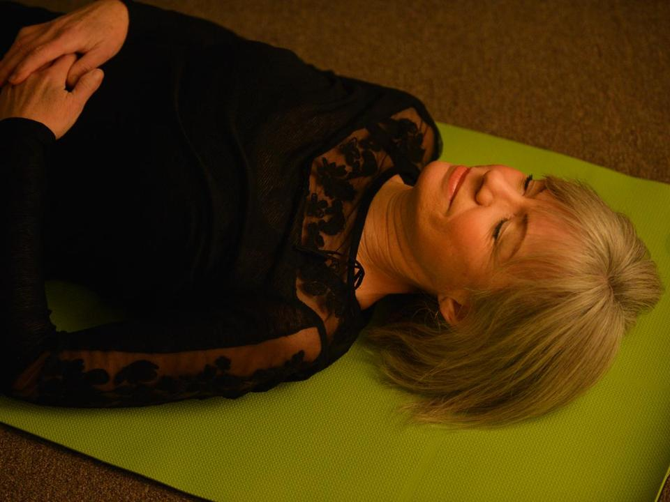 "Instructor Lees Yunits at Easton Yoga Center offers a version of yoga nidra called ""Divine Sleep."""