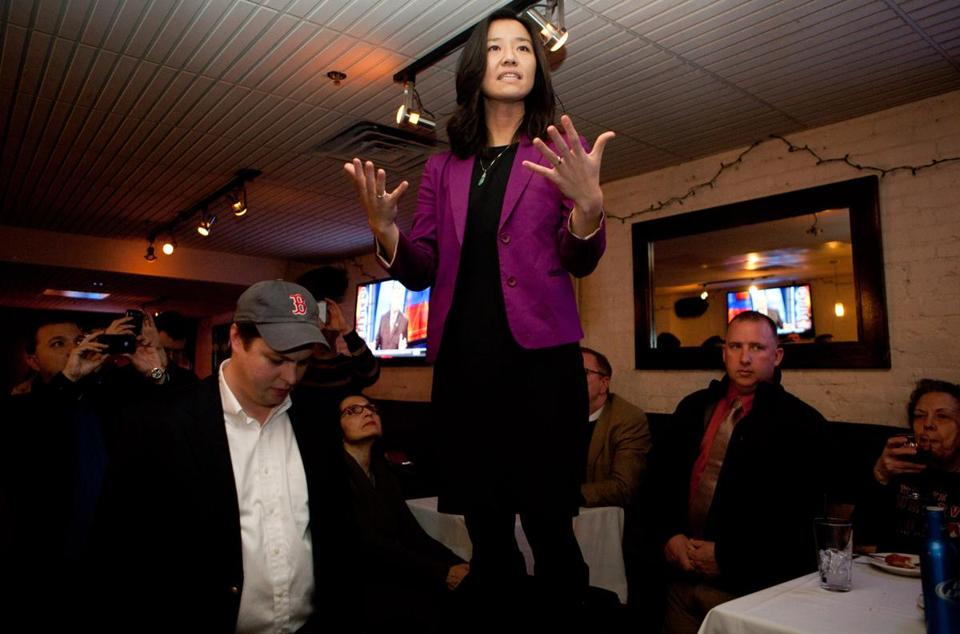 Boston City Councilor-elect Michelle Wu addressed supporters at Lir Pub and Restaurant.