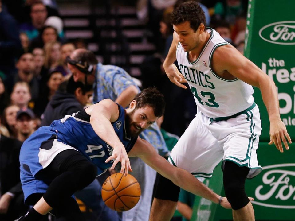 Celtics forward Kris Humphries had to get physical against Kevin Love and the Timberwolves' big frontline.
