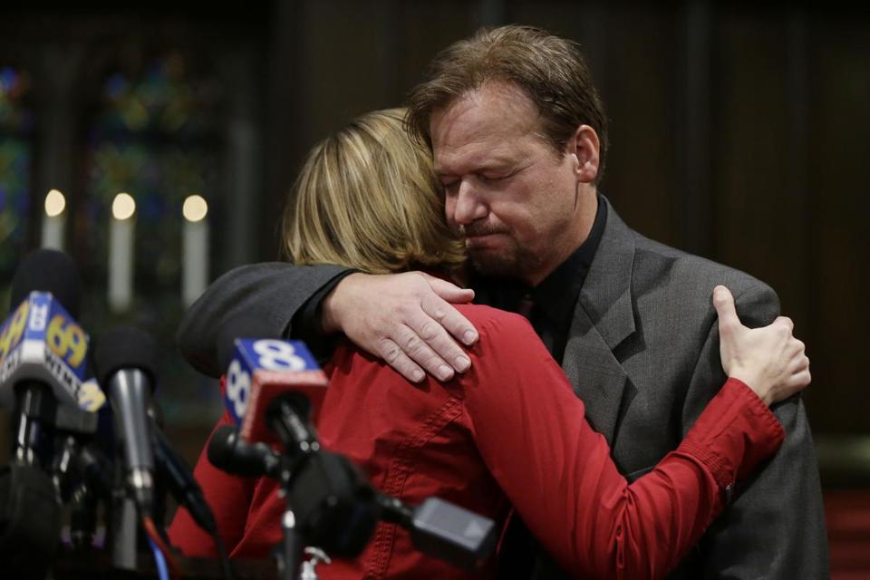 Former pastor Frank Schaefer was consoled by the Rev. Lorelei Toombs after United Methodist Church officials defrocked him Thursday.