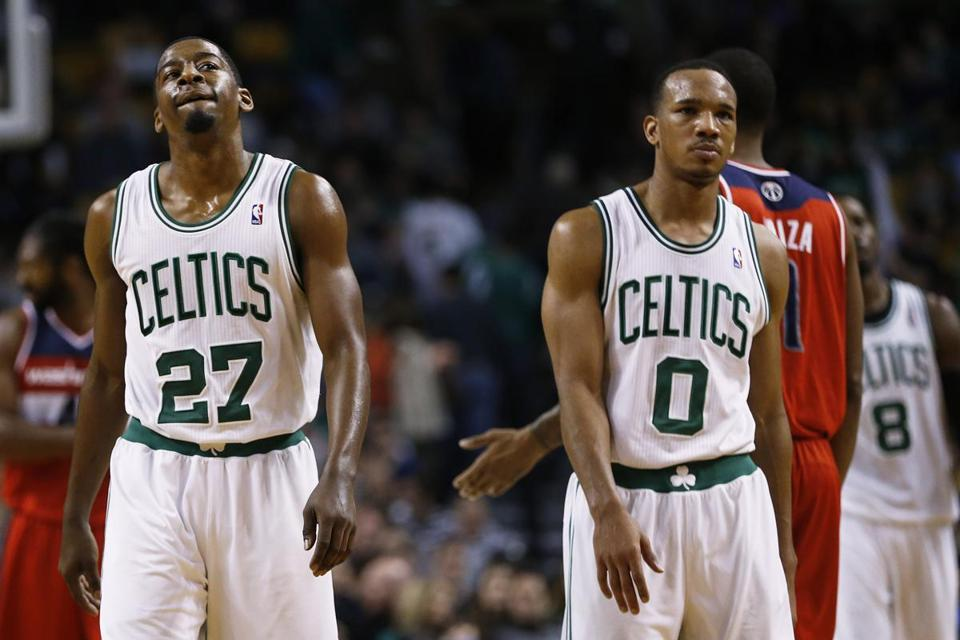 Jordan Crawford (left) and Avery Bradley walked down the court as the Celtics trailed by seven points, 104-97, with fewer than 19 seconds remaining.