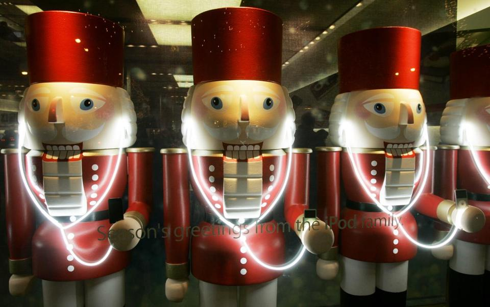 Nutcracker soldiers listening to iPods with earbuds were displayed at the Apple Store on Chicago's Magnificent Mile.