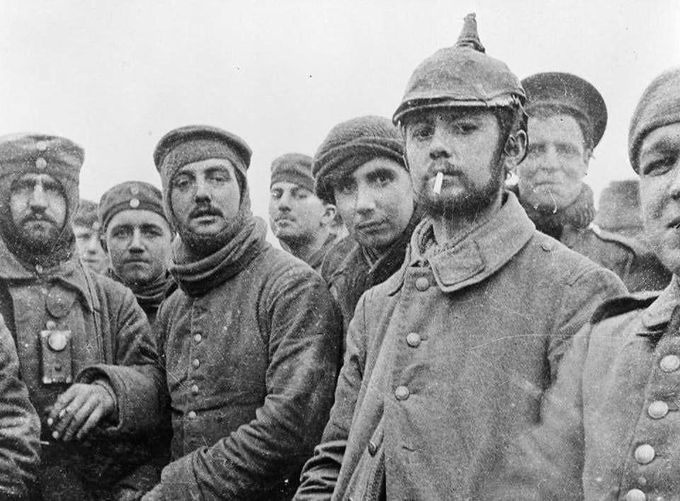 British and German soldiers fraternized at Ploegsteert, Belgium, on Christmas Day 1914.