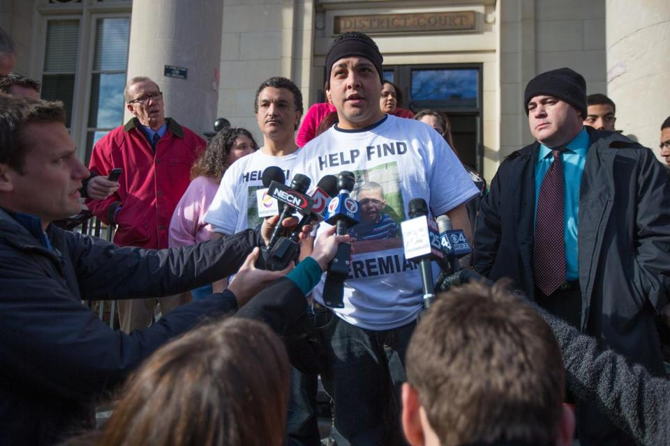 Jose Oliver, center, spoke to the media following a dangerousness hearing for Alberto Sierra at Fitchburg District Court in connection with the disappearance of Jose's son Jeremiah Oliver.