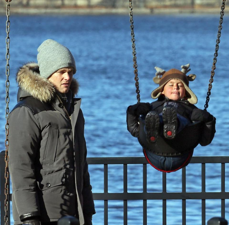 Tom Brady (with son Benjamin) and Gisele Bundchen took their family to a playground near Storrow Drive on Christmas Day.