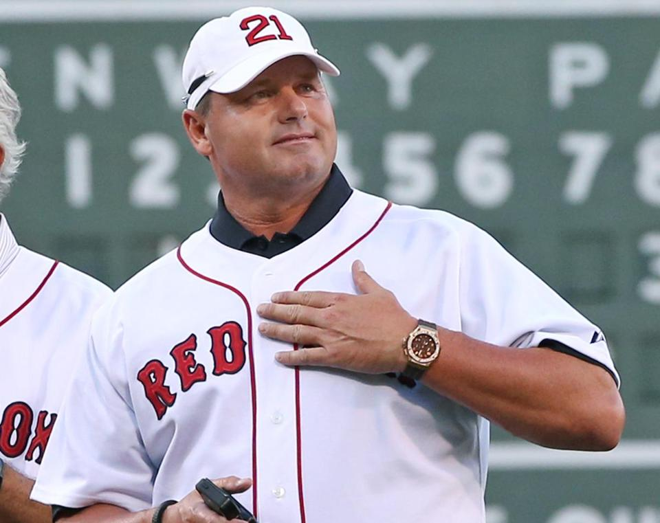 Former Red Sox pitcher Roger Clemens  during a ceremony last season celebrating the 25th anniversary of a streak in 1988 that began after Joe Morgan became manager of the team.