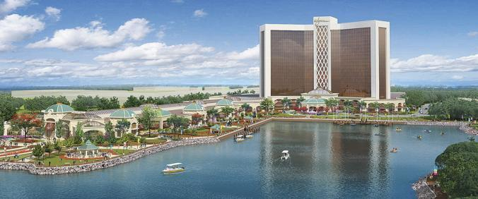 An artist's rendering shows the proposed Wynn Resorts casino on the banks of the Mystic River in Everett.