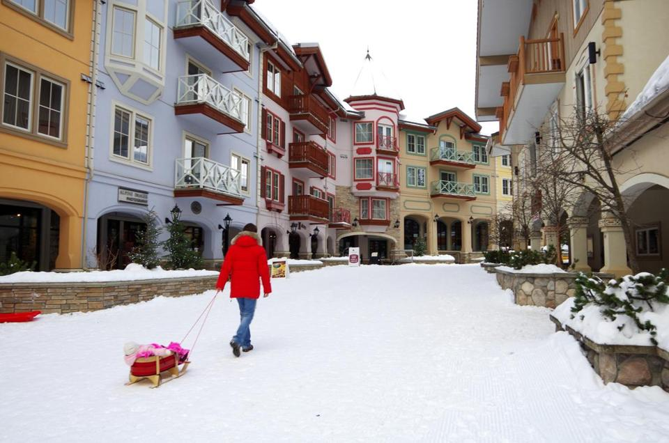 The village architecture at Sun Peaks Ski Resort is in the style of the southern Alps.