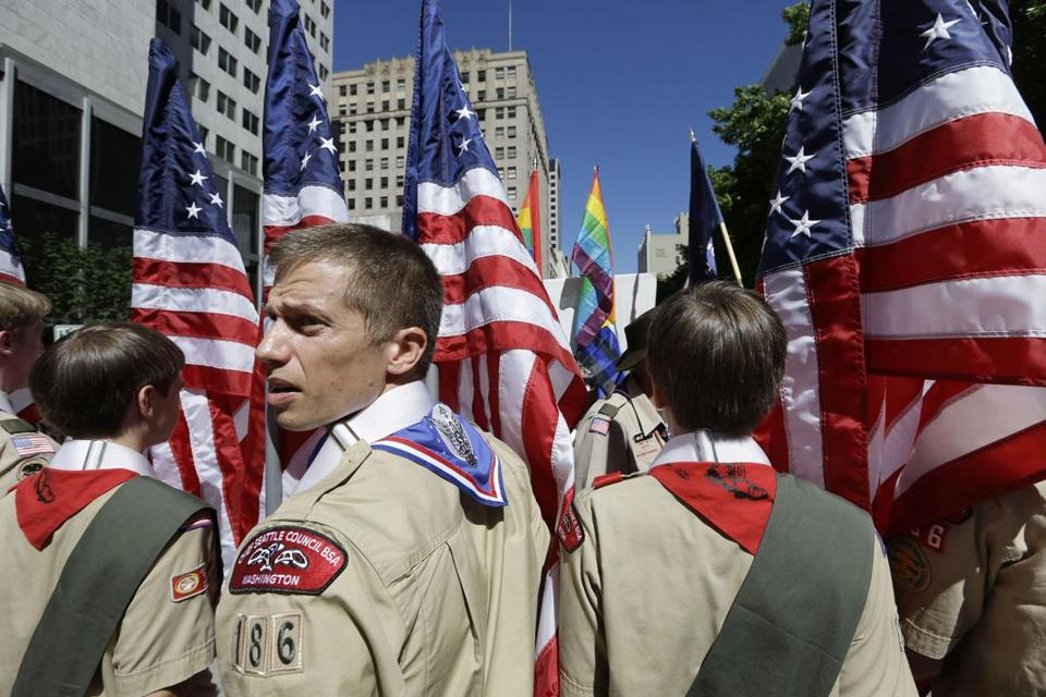 Boy Scouts from the Chief Seattle Council prepared to march in the Gay Pride Parade in downtown Seattle.