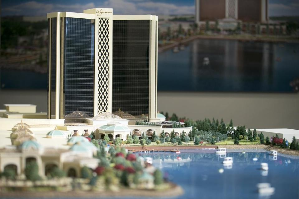A 3D model of a proposed Wynn Resorts casino in Everett.