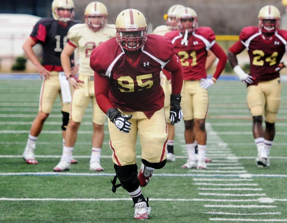 Dominic Appiah worked up a sweat during a pads practice as BC prepared for its bowl game on New Year's Eve.