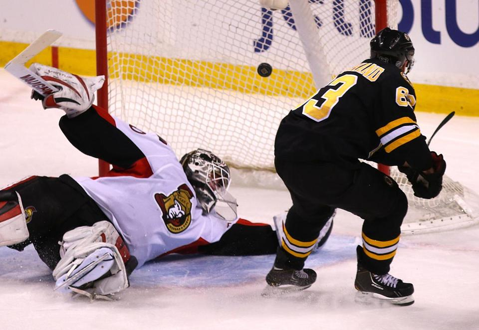 Brad Marchand scored an unassisted short-handed goal in the third period.