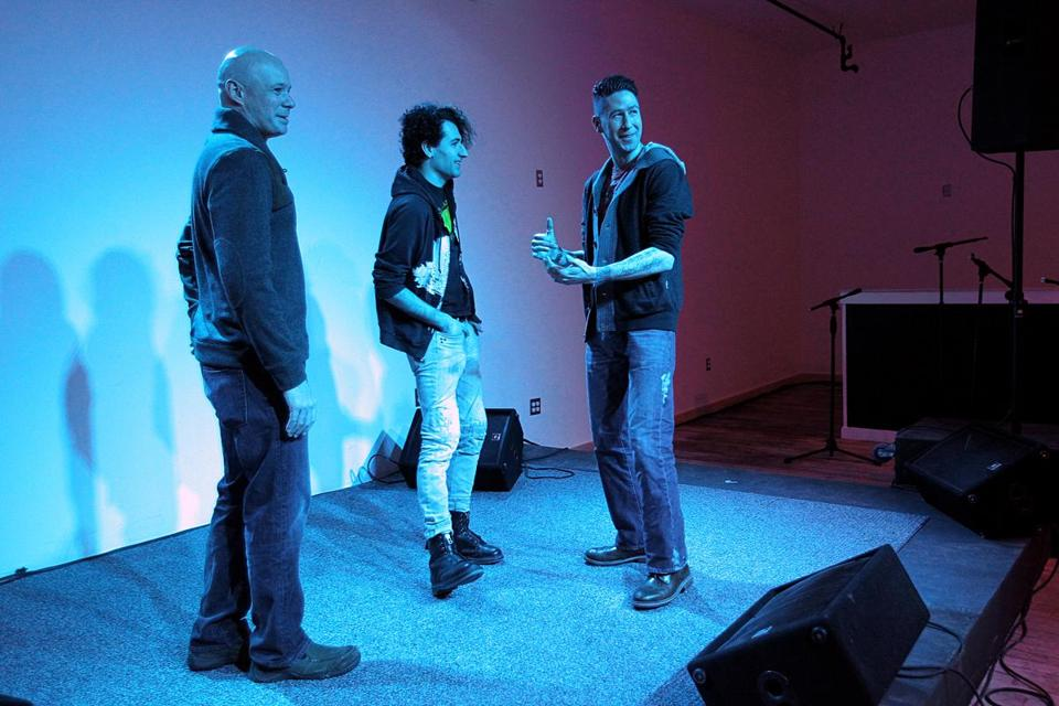 From left: Rich Anton, Nick Grieco, and Glenn Michael have worked to transform a warehouse into an artist space in Allston that is close to opening this year.