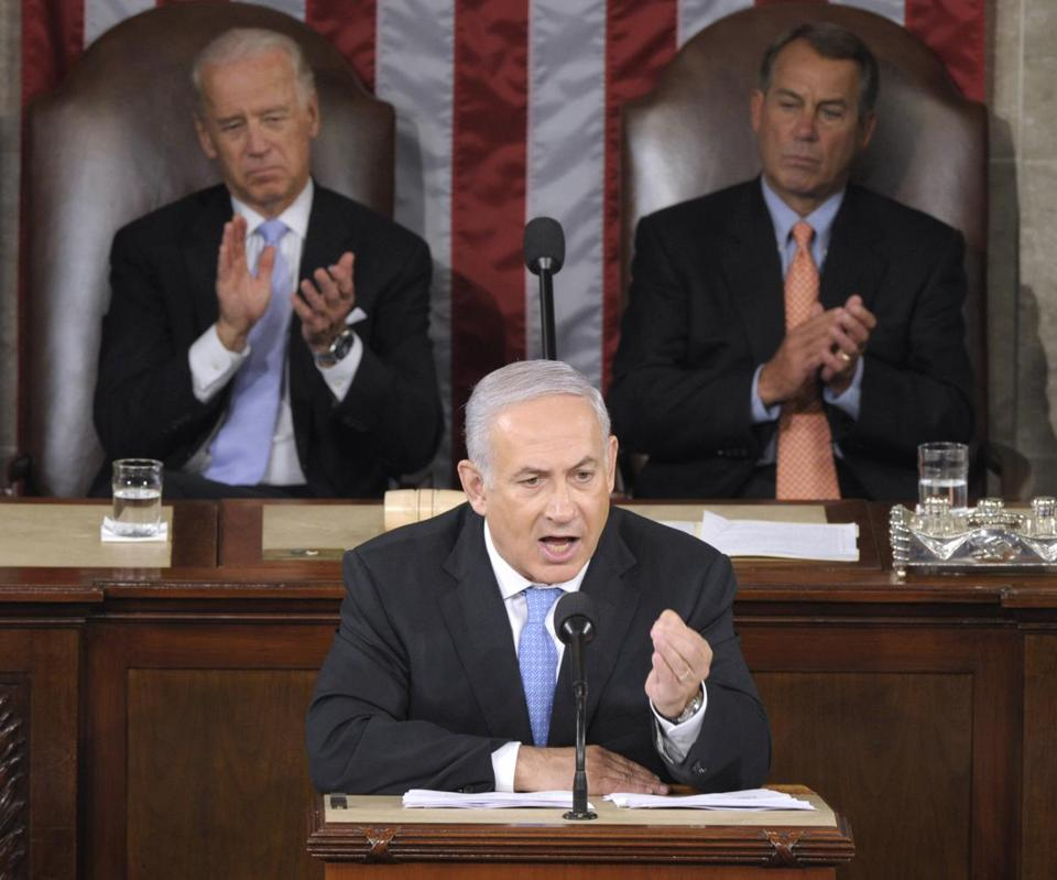 Israeli Prime Minister Benjamin Netanyahu addressed Congress in Washington in 2011 as Vice President Joe Biden and House Speaker John Boehner applauded.