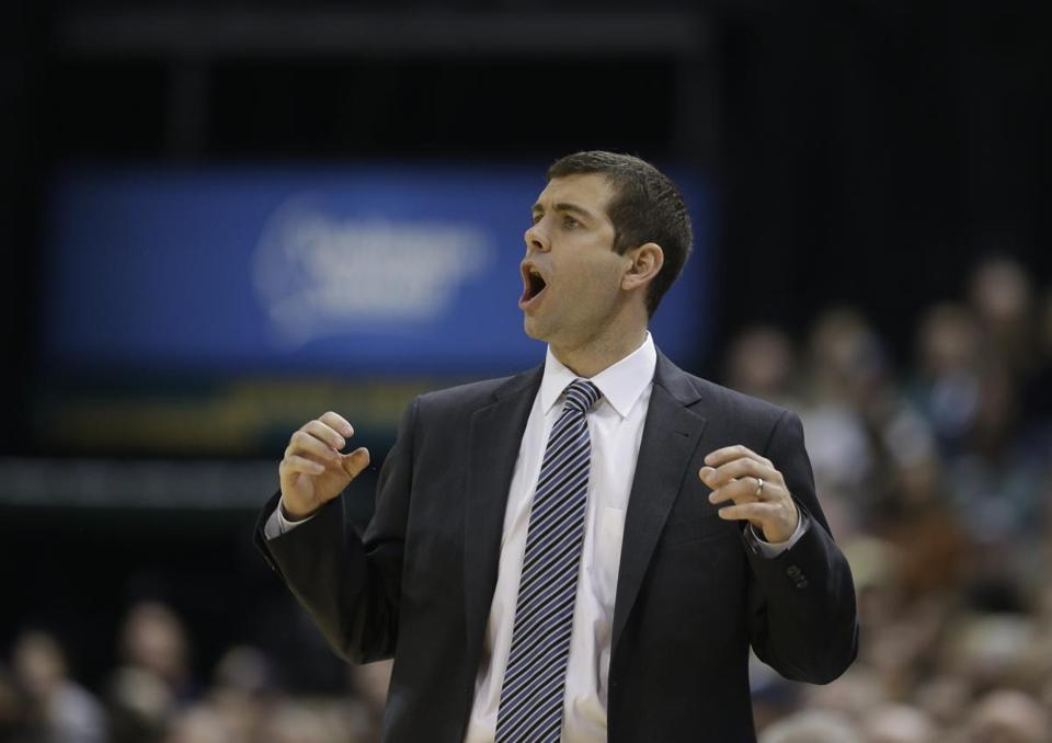 Boston Celtics head coach Brad Stevens in action during the first half against the Indiana Pacers Sunday, Dec. 22, 2013.