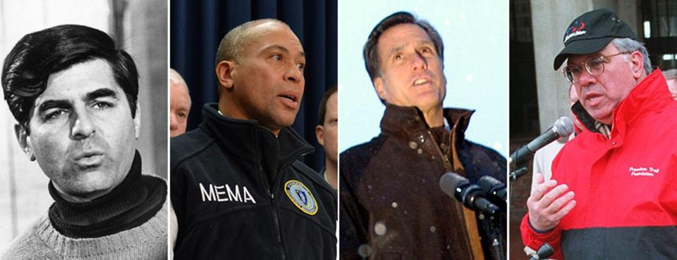 "Governor Deval Patrick (center) sports a fleece vest during snowstorms. In the Blizzard of 1978, Governor Michael Dukakis's sweater drew much attention. Boston Mayor Thomas M. Menino's style was called ""comfy confident."""