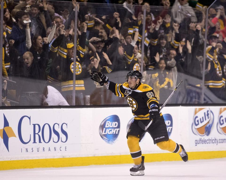 Brad Marchand was pumped after scoring the game-winning goal in overtime.