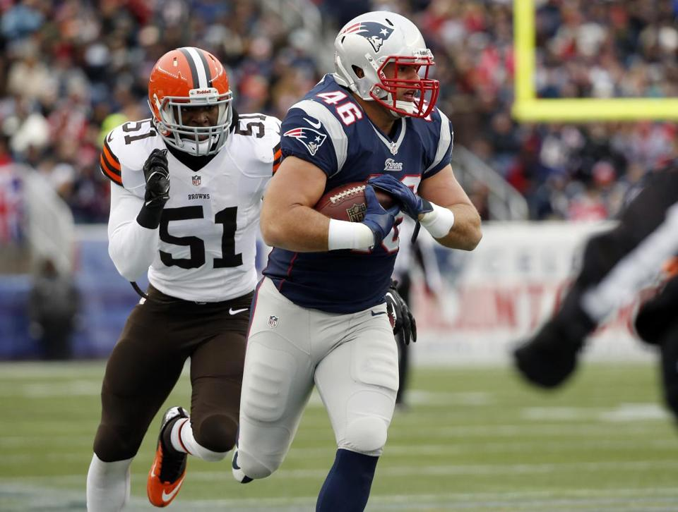 Patriots fullback James Develin has played in 26 percent of the team's offensive snaps this season.