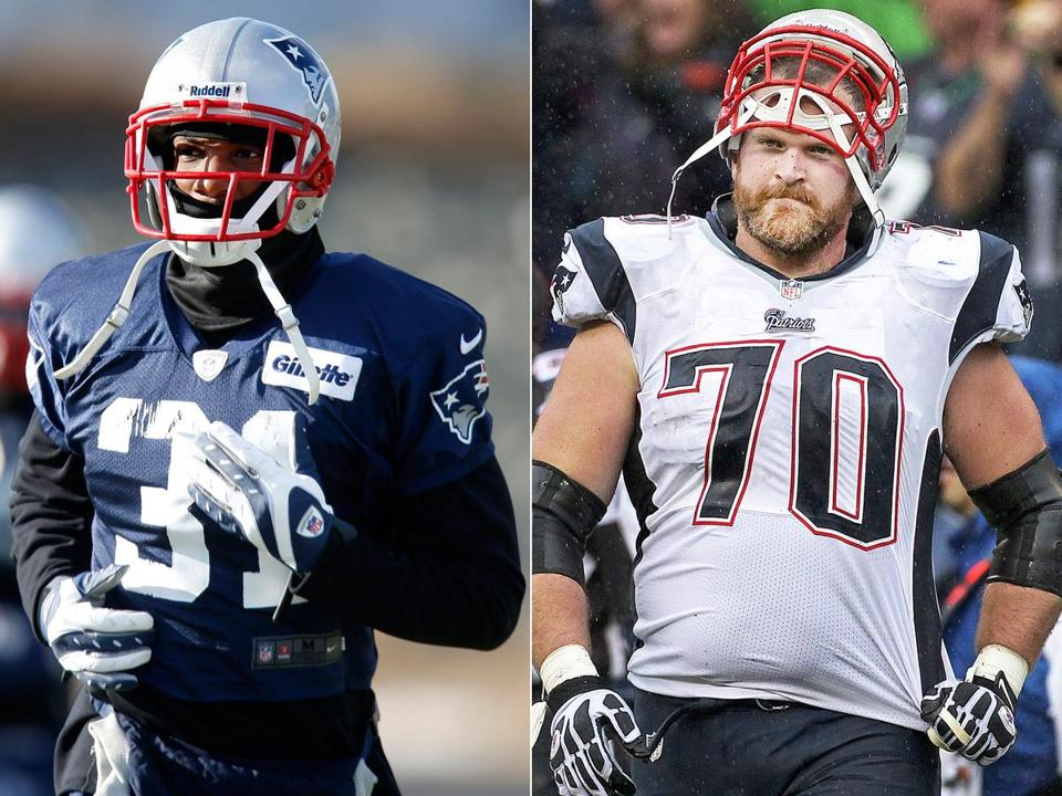 Aqib Talib (left) was named to his first All-Pro team; Logan Mankins (right) made his fifth.