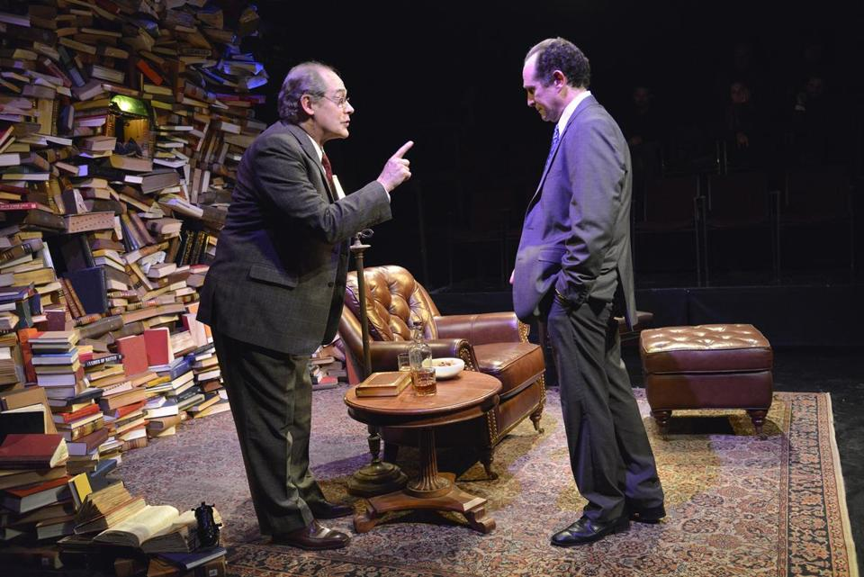 Joel Colodner (left) as Solo-mon Galkin and Jeremiah Kissel as Bernard Madoff.