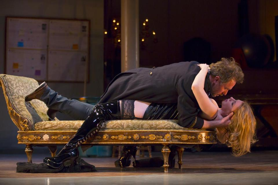 "Chris Kipiniak and Andrea Syglowski in the Huntington Theatre Company's production of ""Venus in Fur.''"