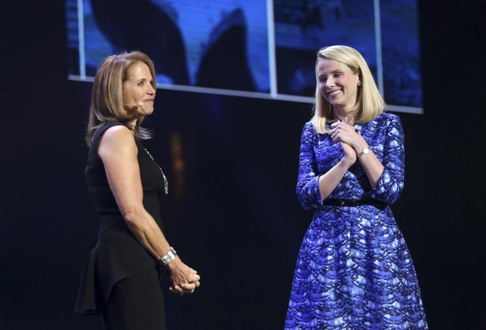 Yahoo CEO Marissa Mayer greeted journalist Katie Couric on stage at CES.