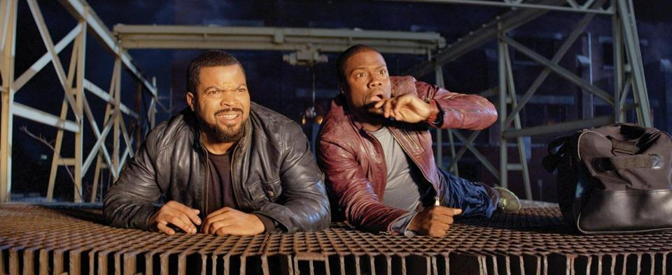 "Ice Cube (left) and Kevin Hart play detective and wannabe police officer in ""Ride Along."""