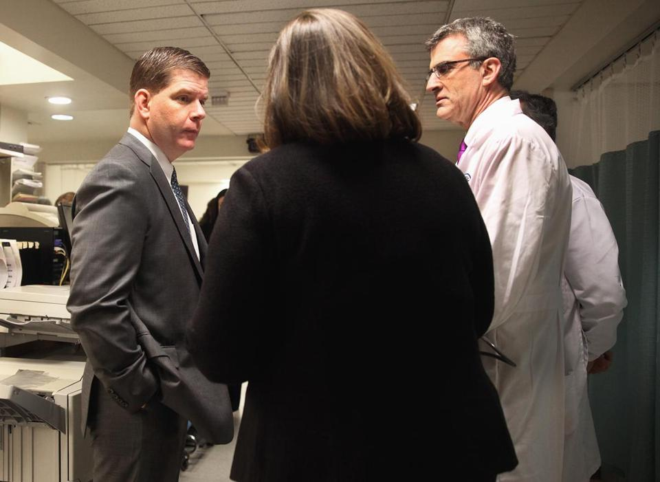 Mayor Martin J. Walsh toured Boston Medical Center Wednesday, meeting with the hospital's chief executive, Kate Walsh, and Dr. Jonathan Olshaker in the emergency room.