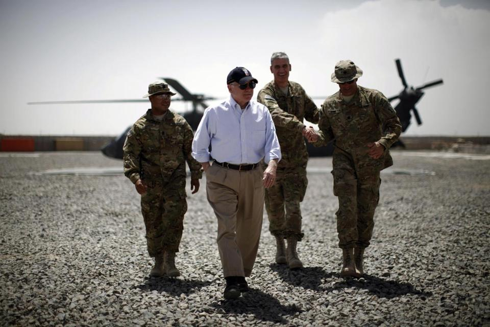 US Secretary of Defense Robert Gates arriving at Combat Outpost Andar in Ghazni Province, Afghanistan, in 2011.