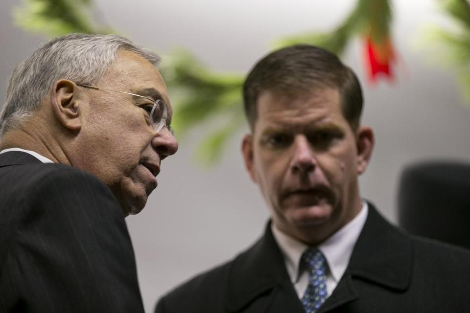 Former Mayor Tom Menino, left, attends a tree-lighting ceremony with Mayor Marty Walsh in December. At 46, Walsh is four years younger than Menino was when he took the office.