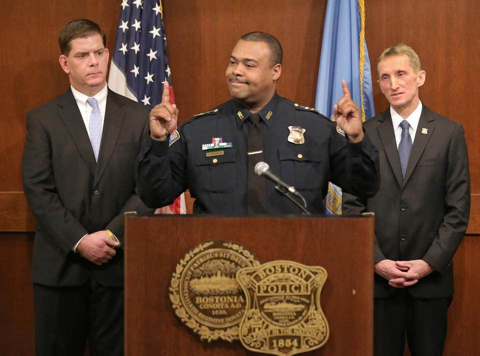 Mayor Martin J. Walsh named William Evans (right) as the city's new police commissioner and Evans promptly named William Gross (center) the city's first black superintendent-in-chief.