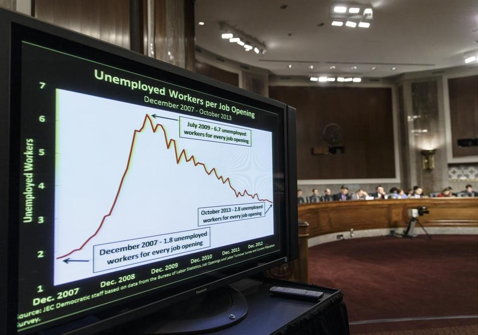 A chart displayed employment data at a Joint Economic Committee meeting in December in Washington, D.C.