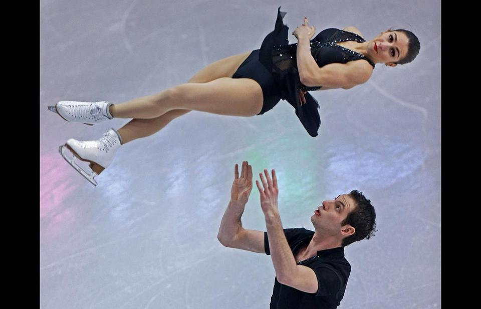 Marissa Castelli and Simon Shnapir were flying high after their short program put them in first place.