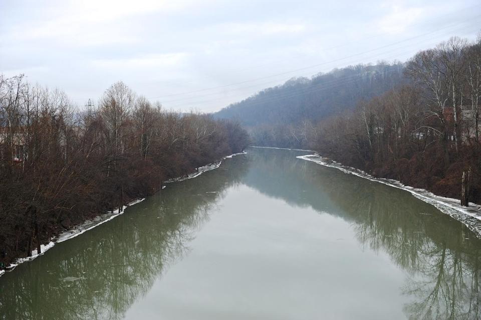 A stretch of the Elk River in Charleston, W.Va., where a chemical spill contaminated the water.