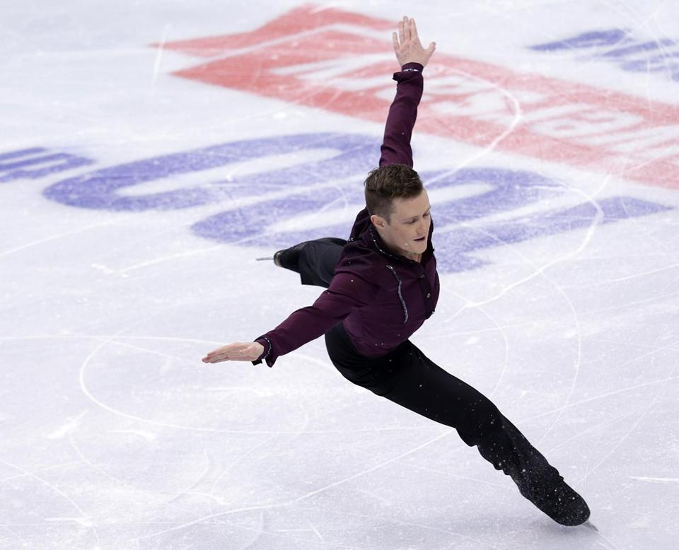 Competing at his final national championships, Jeremy Abbott set a short program record with a score of 99.86.