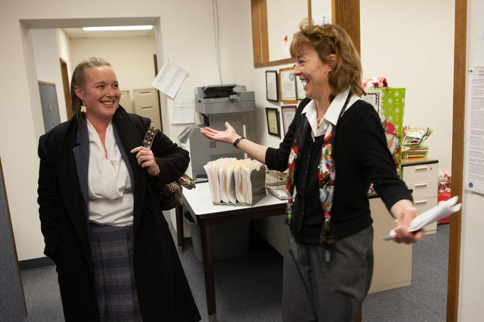 Aleta Moncecchi (right) kept in touch with Mindy Shoestock over the years. And when a position opened up at Berkshire Community Action Council, she persuaded her supervisor to hire Shoestock.