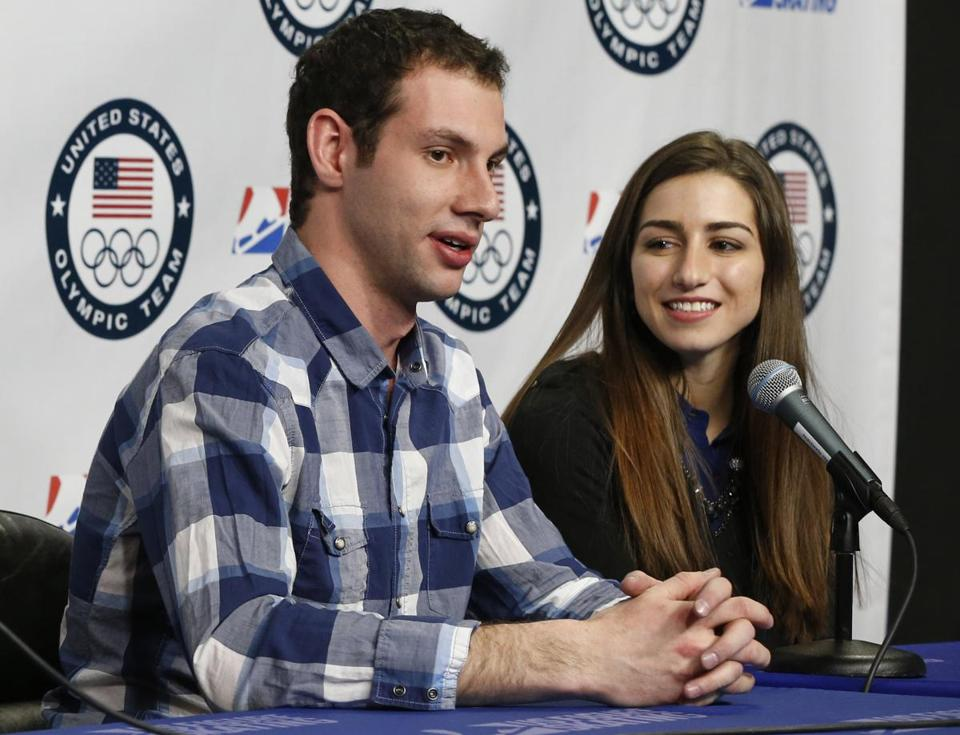 Simon Shnapir  and Marissa Castelli spoke during at the press conference in Boston after being named to the US Olympic skating team.